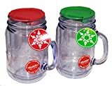 2 Double Walled Mason Jar Shaped Mugs with Handles with Red and Green Lids