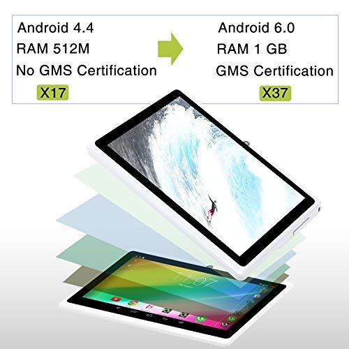 iRULU 7 inch Tablet Google Android 6.0 Quad Core 1024x600 Dual Camera Wi-Fi Bluetooth,1GB/8GB,Play Store Netfilix Skype 3D Game Supported GMS Certified (White)