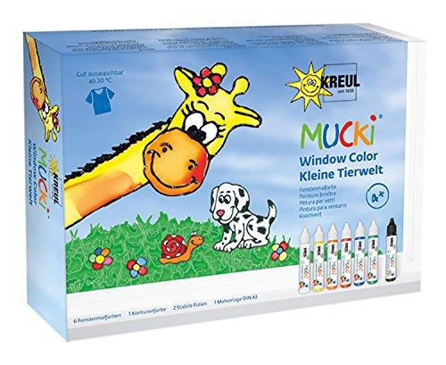 Mucki 24451 - Window Color Set Kleine Tierwelt, Folien und Malvorlage, 7 x 29 ml