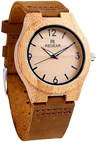 Wood Watches, Bamboo Case Leather Watch with Luminous Pointer Casual Wrist Watch for Women Ladies Girls