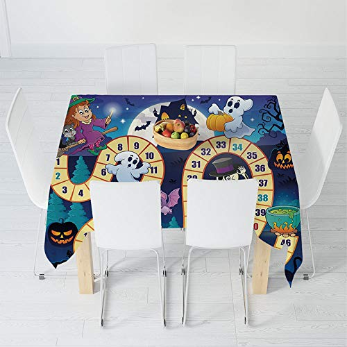 TecBillion Printed Tablecloth,Board Game,for Rectangle Table Kitchen Dinning Party,63 X 63 Inch,Halloween Theme Symbols Happy Witch Girl Vampire -
