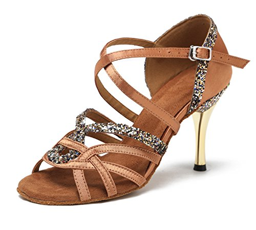 - Minishion GL239 Women's High Heel Buckle Bronze Satin Latin Ballroom Tango Salsa Dance Shoes Wedding Party Prom Sandals US 8