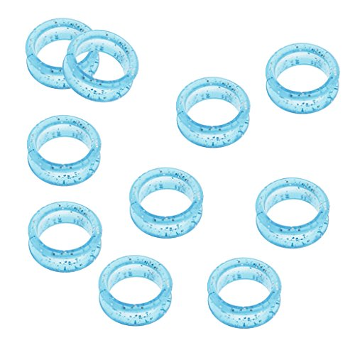 Price comparison product image CUTICATE Pack of 10 Finger Ring Grips Rubber Scissor Ring Inserters For Hairdressing Barber Scissors Shears - Blue,  2.2x2.7 cm