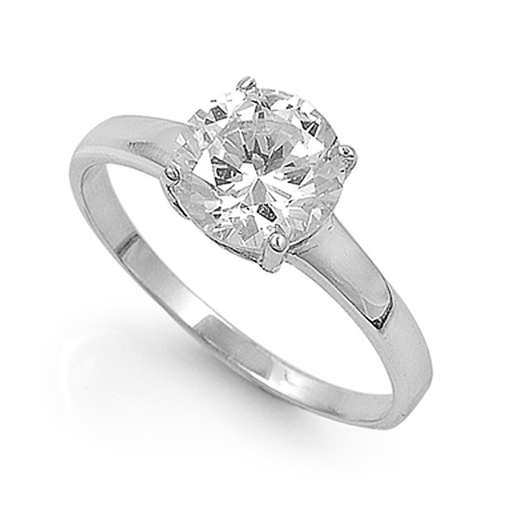 Sterling Silver Solitaire Engagement Promise Ring with Round Clear Cubic Zirconia Stone