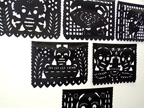 Day of The Dead Party Decorations, Dia de Muertos Decorations Papel picado Banner, Over 75 feet Long, Halloween Black Tissue Paper Garland, Mexican Skull Decorations, MB10
