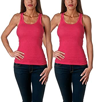 Sofra Women's Tank Top Cotton Ribbed 2 Pack Deal(Fuchsia/Fuchsia-S)