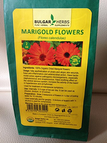 Organic Dried Marigold Flowers (Flores Calendulae) 2 Oz.