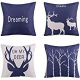 Azuki Pack of 4,Plant Tropic Deer Geometry Series Style Throw Pillow Cover for Home Decor Car 18 x 18 inch 45 x 45 cm