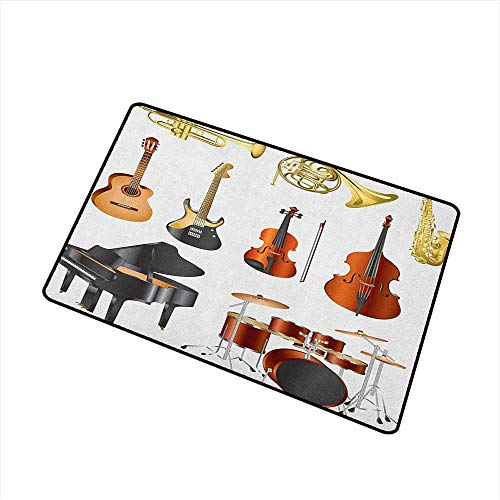 Sillgt Music Welcome Doormat Collection of Musical Instruments Symphony Orchestra Concert Composition Theme Print for Outdoor and Indoor 20