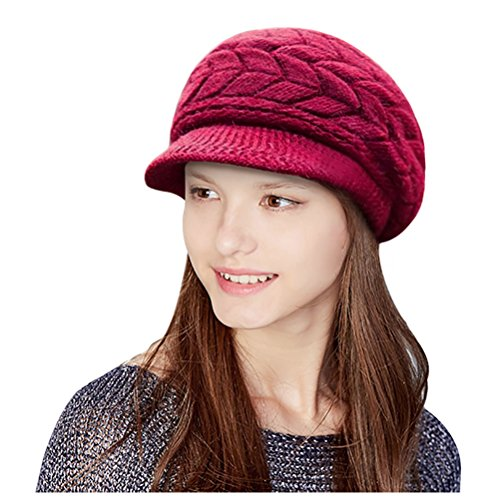 it Hat Stretch Warm Beanie Ski Cap with Visor for Women Girl Red Wine ()