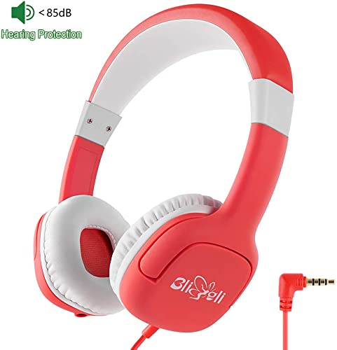 Kids Headphone with 85dB Volume Limited Hearing Protection, Music Sharing Function, Bligli Wired On-Ear Headsets for Children Youngster Christmas Red