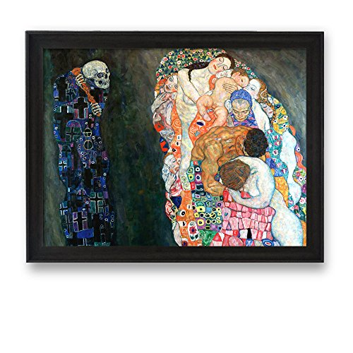 Framed Art Death and Life by Gustav Klimt Famous Painting Wall Decor Dark Coffee Brown Frame
