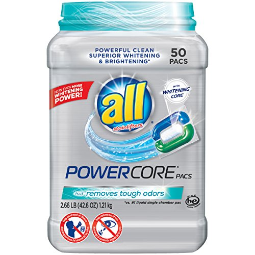 All Powercore Pacs Laundry Detergent Plus Removes Tough Odors  Tub  50 Count