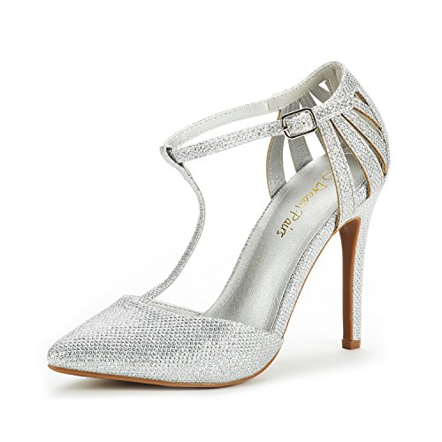 DREAM PAIRS Women's Oppointed-Mary Silver Glitter Fashion Dress High Heel Pointed Toe Wedding Pumps Shoes Size 8.5 M US