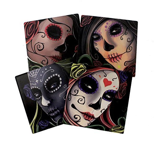 (Day Of The Dead Sugar Skull Sisters Coaster Set of 4 By DWK | Decorative Ceramic Coaster Tiles With Cork Backing)