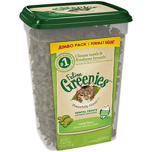 Feline Greenies Dental Cat Treats, Catnip Flavor, 11 Oz. Tub, Make Great Holiday Cat Treats