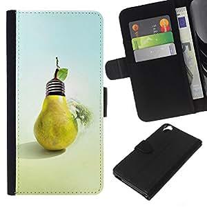 KLONGSHOP // Tirón de la caja Cartera de cuero con ranuras para tarjetas - Diseño Pera del bulbo - HTC Desire 820 //