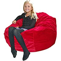 Ahh! Products Red Velvet Microsuede Washable Large Bean Bag Chair Plush