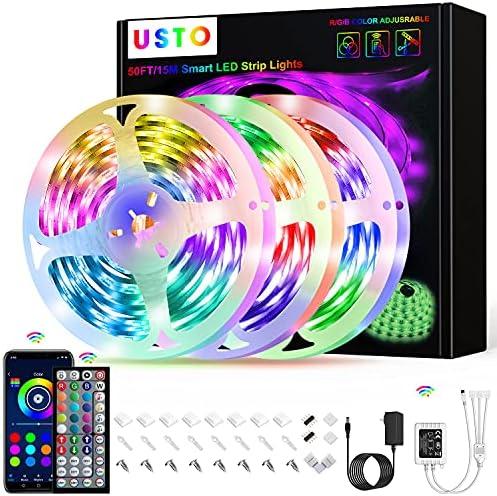50ft LED Strip Room Tape Lights 5-15m RGB 5050 Music Sync Bluetooth Color Change