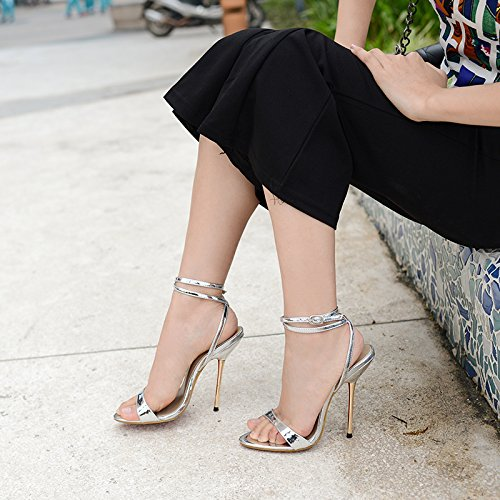 summer steel shoes with simple velvet fine female high heel Sandals show the Black with Paw5UY4q