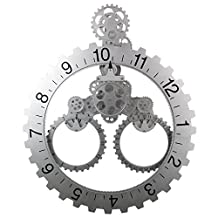 SevenUp Large Wall Clock Gear Moving, Decorative Modern Plastic and Metal, Big Wheel Month / Date / Hour Gear Wall Clock,Perfect for Living Room, Reading Room, Restaurant, Office Decor (Calendar - Silver)