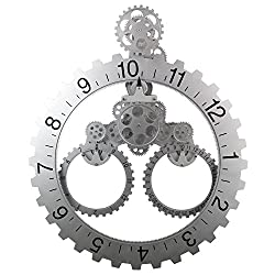 SevenUp Gear Clock Wall-Premium Plastic and Metal Parts Material, Best 3D Moving Gear Clock Wall, A Fine Artwork, Perfect for Living Room, Reading Room, Restaurant, Office Decor and etc. (Silver)