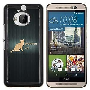 YiPhone /// Prima de resorte delgada de la cubierta del caso de Shell Armor - Gato de madera - HTC One M9Plus M9+ M9 Plus