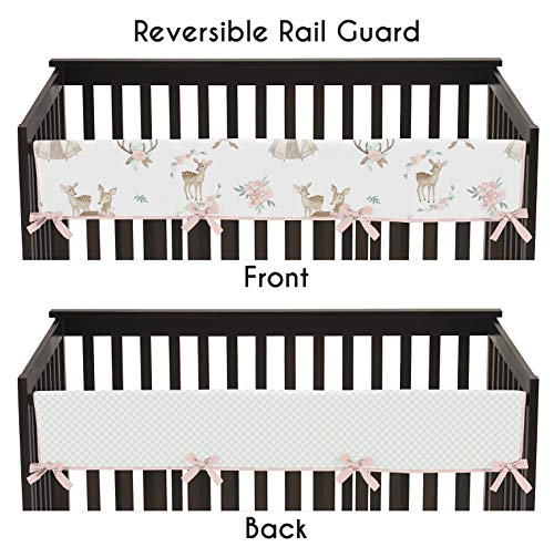 Sweet Jojo Designs Blush Pink, Mint Green and White Boho Long Front Crib Rail Guard Baby Teething Cover Protector Wrap for Woodland Deer Floral Collection