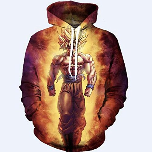 YangXinYuan Unisex Hoodies Dragon Ball Z Goku 3D Print Pullover Sportswear Sweatshirt Tops (0033, L)
