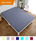 CottonTex Quilted Fitted Mattress Pad Cover Bed Sheet Cover Grey,King Size 80x76Inches Hypoallergenic All Season for Newborn Smooth Mattress Protector