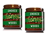 Bath and Body 2 Pack Works Smoked Honey Woods Medium One Wick Candle. 7 Oz.