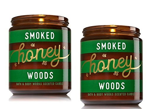 (Bath and Body 2 Pack Works Smoked Honey Woods Medium One Wick Candle. 7 Oz.)