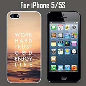 Trust God Enjoy LIfe Custom Case/ Cover/Skin *NEW* Case for Apple iPhone 5/5S - White - Rubber Case (Ships from CA) Custom Protective Case , Design Case-ATT Verizon T-mobile Sprint ,Friendly Packaging - Slim Case