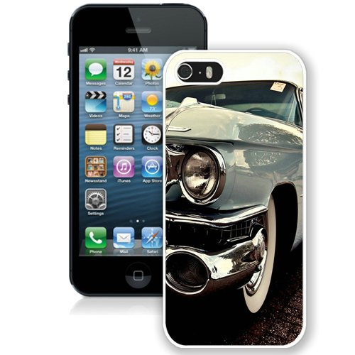 Coque,Fashion Coque iphone 5S Cadillac Fleetwood Elegant Old blanc Screen Cover Case Cover Fashion and Hot Sale Design