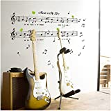 Molunt (TM) 1set Large Size 70120cm Music Sticker Music Is My Life Theme Music Bedroom Decor & Dancing Music Note Removable Wall Sticker