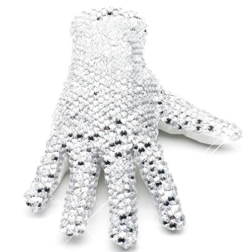 Michael Jackson Glove Ultimate Collection Diamond Gloves 3D Sparkling Crystal Billie Jean Handmade Glove, Right Hand-free Size]()