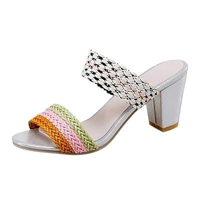 TAOFFEN Damen Ohne Verschluss Sandalen Siders Shoes mit Absatz