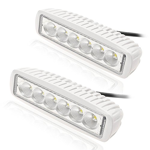 KAWELL Slim 2 Pack 18W Off Road Led Work Light Bar 6.2 Inches 6500K LED Flood Light Bar for ATV SUV Jeep Boat Truck White
