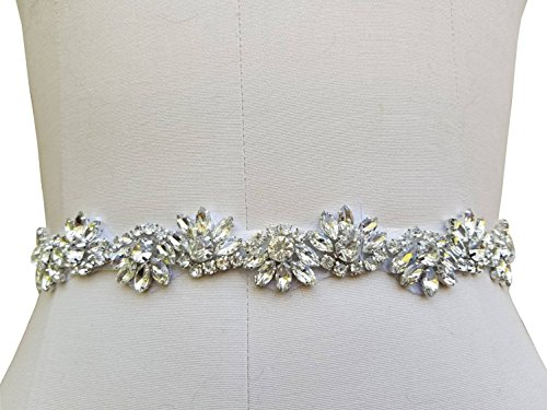 Bridal Wedding Gown Belt Ivory With Beaded Rhinestone Piece In 3 Color Choice