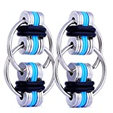 Fancy Home 2 Pack Anti-Anxiety Fidget Chain Gadgets Toy Stress Reducer for Autism, ADD, ADHD, and Autism Boredom Your Finger Tips Blue