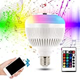 PROLIGHT Wireless Speaker Bluetooth Music LED Light Bulb , E27 Wireless Smart Dimmable Bluetooth Control Built-in Audio Speaker LED RGB White Color Light for Home, Stage,Party Decoration