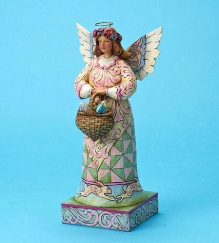 Jim Shore for Enesco Easter 10-Inch Angel Holding a Basket of Easter Eggs on Square Base Figurine Jim Shore Angel Spring