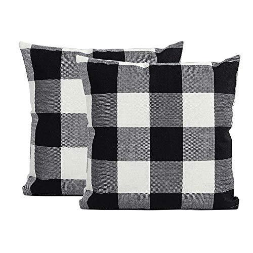 (Burlap Farmhouse Decor Buffalo Checkers Plaid Cotton Linen Decorative Throw Pillow Cover Rustic Cushion Cover Pillowcase for Sofa 18 x 18 Inch, Set of 2 (Black White, 18