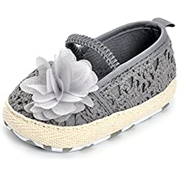 Infant Girls' Shoes Floral Net Yarn Ballerina Shoes Gray 6-12 months