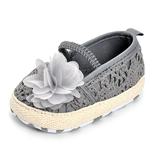 Infant Girls Shoes Floral Net Yarn Ballerina Shoes Gray 12 18 Months