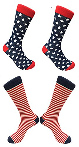 [2 Pairs Best USA US Stars Stripes Flag Army Set Fun Novelty Print Crew Length Dress Sock Men Women Easter Basket Filler Gift Idea Mother Mom] (Master Chief Suit For Sale)