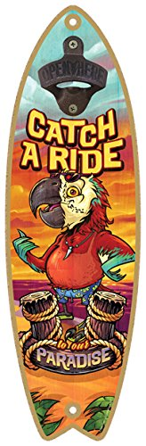 SJT ENTERPRISES, INC. Catch a Ride to Our Paradise Surfboard Bottle Opener, 5