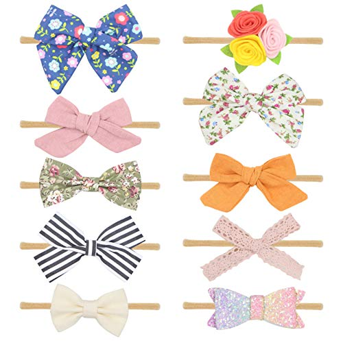 - FANCY CLOUDS Baby Girl Headbands with Bows and Flowers,Soft Nylon Knot Hair Accessories for Newborn Infant Toddler Girls (set2)