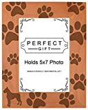 Dog Lover Gift Boxer Silhouette Paw Prints Natural Wood Engraved 5x7 Portrait Picture Frame Wood