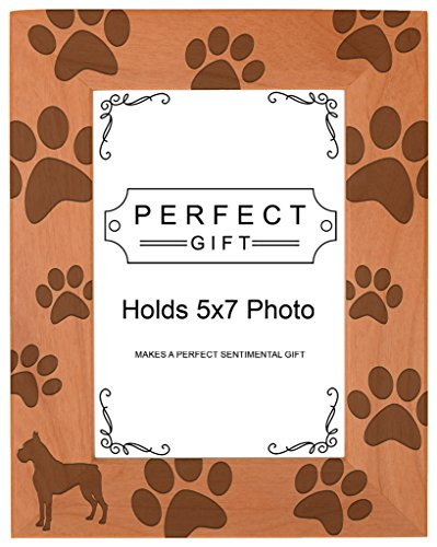 (Dog Lover Gift Boxer Silhouette Paw Prints Natural Wood Engraved 5x7 Portrait Picture Frame Wood)